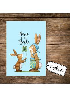 A6 Postkarte Print Muttertag Häschen mit Kleeblatt und Spruch Mama ist die Beste pk104