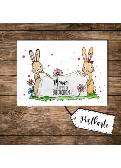 A6 Postkarte Print Muttertag Häschenkinder mit Punkten und Spruch Mama ist unsere Superheldin pk106