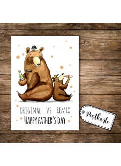 A6 Postkarte Print Vatertag Bären mit Spruch Original vs Remix Happy Father's Day und Punkten pk108
