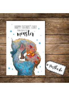 A6 Postkarte Vatertag Print Monster mit Punkten und Spruch happy father's day from your little monster pk109