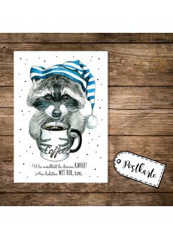 A6 Postkarte Waschbär mit Schlafmütze Kaffeetasse und Spruch Kaffee? Am liebsten mit dir pk10