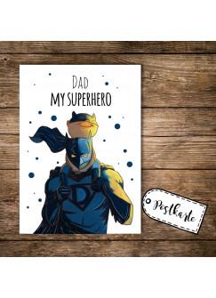 A6 Postkarte Vatertag Print Superhelden mit Punkten und Spruch dad my superhero pk110