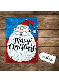 A6 Postkarte Print Weihnachten mit Weihnachtsmann Schneeflocken & Spruch merry christmas pk113