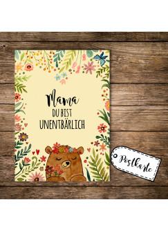 A6 Postkarte Print Muttertag Bär mit Blumen und Spruch Mama du bist unentbärlich pk111