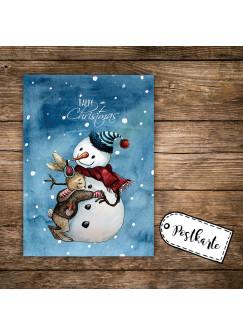 A6 Weihnachtskarte Postkarte Weihnachten Print Schneemann Hase & Spruch Happy Christmas pk114
