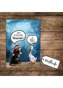 A6 Weihnachtskarte lustig Postkarte Weihnachten Print mit Hund Gans und Spruch pk116
