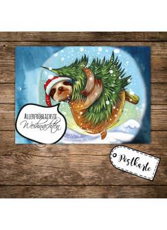 A6 Weihnachtskarte Postkarte Weihnachten Print mit Faultier und Spruch Allerfröhlichste Weihnachten pk117