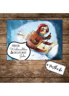 A6 Weihnachtskarte Postkarte Weihnachten Print mit Faultier und Spruch Allerfröhlichste Weihnachten pk118