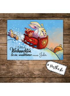 A6 Weihnachtskarte lustige Postkarte Print mit Hase im Schlitten + Spruch fröhliche Weihnachten pk119