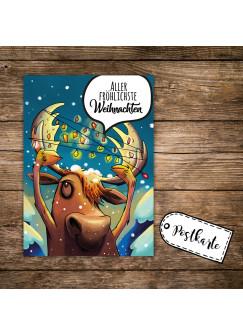 A6 Weihnachtskarte lustige Postkarte Print mit Elch Lichterkette + Spruch fröhliche Weihnachten pk121