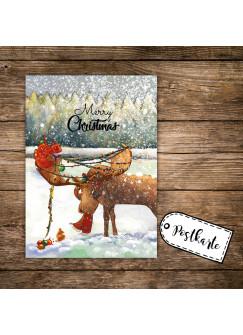 A6 Weihnachtskarte lustige Postkarte Print mit Elch Lichterkette + Spruch merry christmas pk122