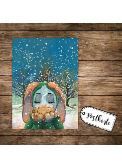A6 Weihnachtskarte lustige Postkarte Weihnachten Print Hase im Schnee mit Tee pk123