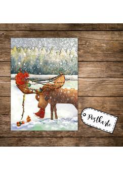 A6 Weihnachtskarte lustige Postkarte Print Elch im Schnee mit Lichterkette & Weihnachtskugeln pk124