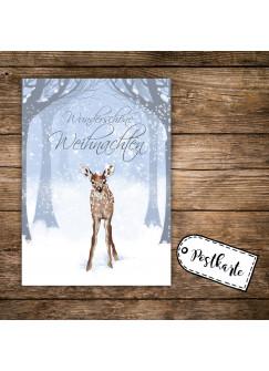 A6 Weihnachtskarte Reh Postkarte Print mit Rehkitz im Winterwald & Spruch Wunderschöne Weihnachten pk127
