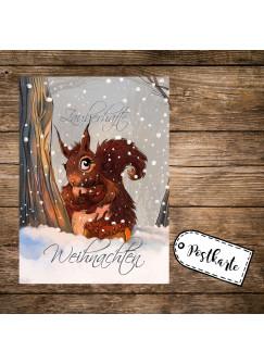A6 Weihnachtskarte Postkarte Print mit Eichhörnchen im Winterwald & Spruch Zauberhafte Weihnachten pk129