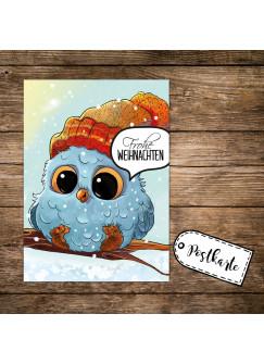 A6 Weihnachtskarte Postkarte Print mit Eule Eulchen auf Zweig & Spruch Frohe Weihnachten pk132