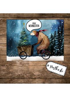 A6 Weihnachtskarte Postkarte Print mit Bär auf Bike im Winterwald + Spruch Frohe Weihnachten pk134