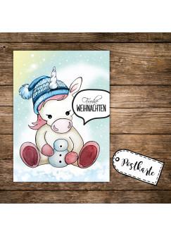 A6 Weihnachtskarte Postkarte Print Einhorn mit Bommelmütze & Spruch Frohe Weihnachten pk136