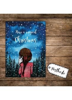 A6 Weihnachtskarte Postkarte Print Mädchen im Wald mit Einhorn & Spruch have a magical christmas pk138