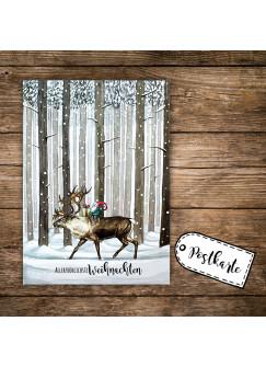 A6 Weihnachtskarte Postkarte Print Rentier & Zwerg im Wald mit Spruch Allerfröhlichste Weihnachten pk139