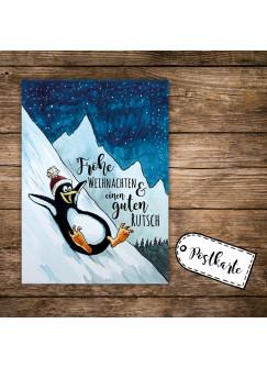 A6 Weihnachtskarte Postkarte Print Pinguin im Winter mit Spruch Frohe Weihnachten & einen guten Rutsch pk140