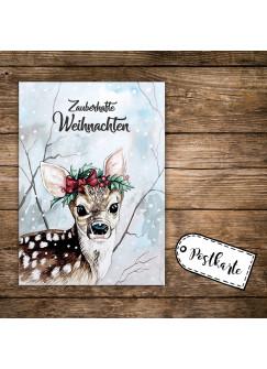 A6 Weihnachtskarte Postkarte Print Reh Rehkitz im Wald mit Spruch Zauberhafte Weihnachten pk141