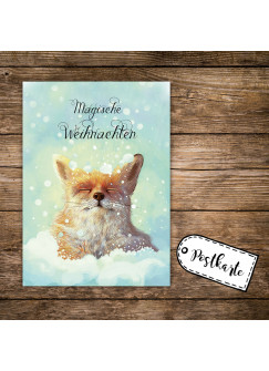 A6 Weihnachtskarte Postkarte Print Fuchs im Schnee mit Spruch Magische Weihnachten pk142