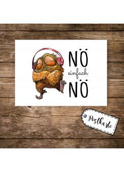 A6 Postkarte Karte Print Eule mit Kopfhörer und Spruch Nö einfach Nö pk14