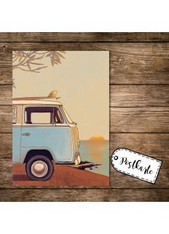 A6 Postkarte Spruchkarte Print mit Bulli Bus Autobus & Sonnenuntergang pk151