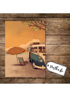 A6 Postkarte Spruchkarte Print mit Bulli Bus Surfbus am Strand Karte Autobus pk153