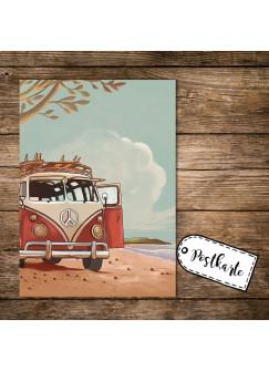 A6 Postkarte Spruchkarte Print mit Bulli Bus Surfbus am Meer Motivkarte Autobus pk155