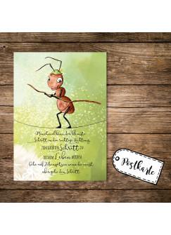 A6 Geburtstagskarte Postkarte Print kleine Ameise & Spruch der kleinste Schritt pk160