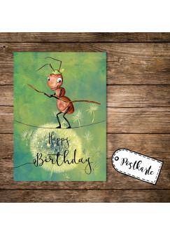 A6 Geburtstagskarte Postkarte Print kleine Ameise & Spruch Happy Birthday pk161