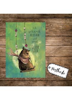 A6 Postkarte Print mit Bär auf Schaukel & Spruch ...ich werde Glücklich pk164
