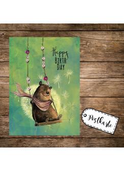 A6 Geburtstagskarte Postkarte Print Bär auf Schaukel mit Spruch Happy Birthday pk165
