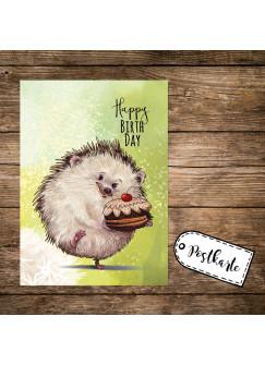 A6 Geburtstagskarte Postkarte Print Igel mit Kuchen & Spruch Happy Birthday pk166