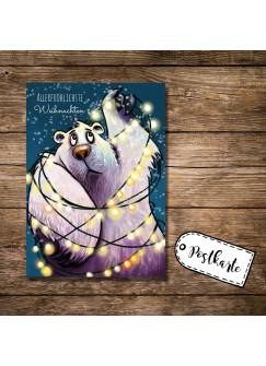A6 Postkarte Weihnachtskarte Print Eisbär mit Lichterkette und Spruch allerfröhlichste Weihnachten pk16