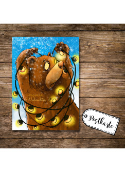 A6 Postkarte Weihnachtskarte Karte Print Braunbär mit Lichterkette und Spruch Allerfröhlichste Weihnachten pk17
