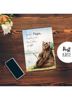 A6 Vatertagskarte Postkarte Print Bären Papa & Kind Angeln mit Spruch Danke... pk180