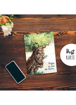 A6 Vatertagskarte Postkarte Print Baum Papa & Kind mit Spruch ...du bist der Beste pk182