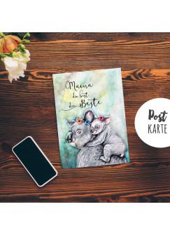 A6 Muttertagskarte Postkarte Print Koala Mama & Kind mit Spruch ...du bist die Beste pk183