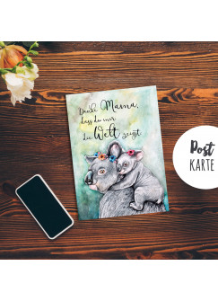 A6 Muttertagskarte Postkarte Print Koala Mama & Kind mit Spruch ...Danke Mama... pk184