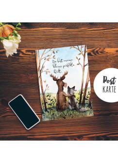 A6 Postkarte Print Tiere Hirsch & Wolf Freunde mit Spruch ...kleine perfekte Welt... pk185