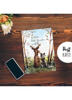 A6 Postkarte Print Tiere Hirsch & Wolf Freundschaftskarte Spruch beste Freundin der Welt pk186