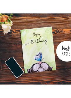 A6 Geburtstagskarte Postkarte Print Katze & Schmetterling mit Spruch Happy Birthday pk189