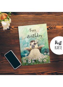 A6 Geburtstagskarte Postkarte Geburtstag Print Ente mit Spruch Happy Birthday pk190