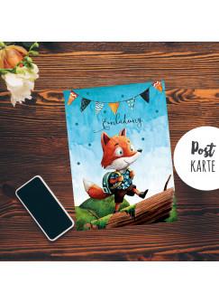 A6 Postkarte Print Fuchs mit Schultasche Geburtstag Einladungskarte Karte blaue Punkte pk200
