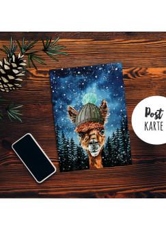 A6 Weihnachtskarte Postkarte Print Alpaka mit Mütze im Winterwald Grußkarte Karte pk203