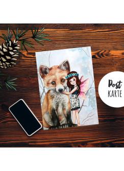 A6 Weihnachtskarte Postkarte Print Elfe Fee mit Fuchs in Winterlandschaft Grußkarte Karte pk204