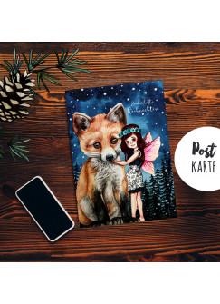 A6 Weihnachtskarte Postkarte Print Elfe Fee mit Fuchs im Winterwald Grußkarte Karte pk205